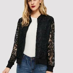 SHEIN Lace Crochet Zipper Jacket